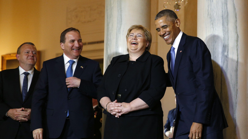 Barack Obama begrüßt die Staats- und Regerungschefs der nordeuropäischen Staaten im Weißen Haus