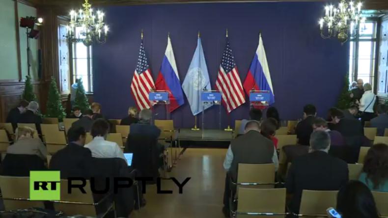 Live aus Wien von der Syrien Unterstützer-Gruppe - Pressekonferenz von Kerry, Lawrow und De Mistura