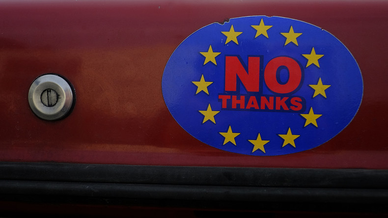 Sticker der Brexit-Kampagne in Großbritannien