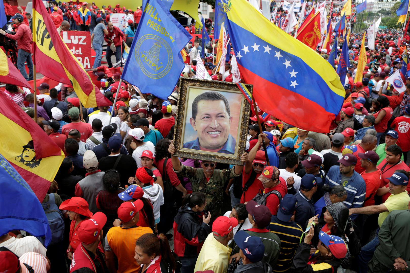 Anhänger des verstorbenen Präsidenten Hugo Chavez in Caracas, Venezuela.