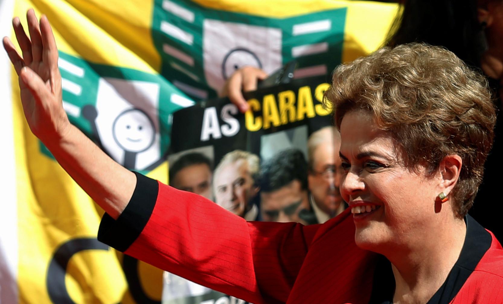 Die brasilianische Präsidentin Dilma Rousseff auf der 1. Mai-Kundgebung der Arbeiterpartei.