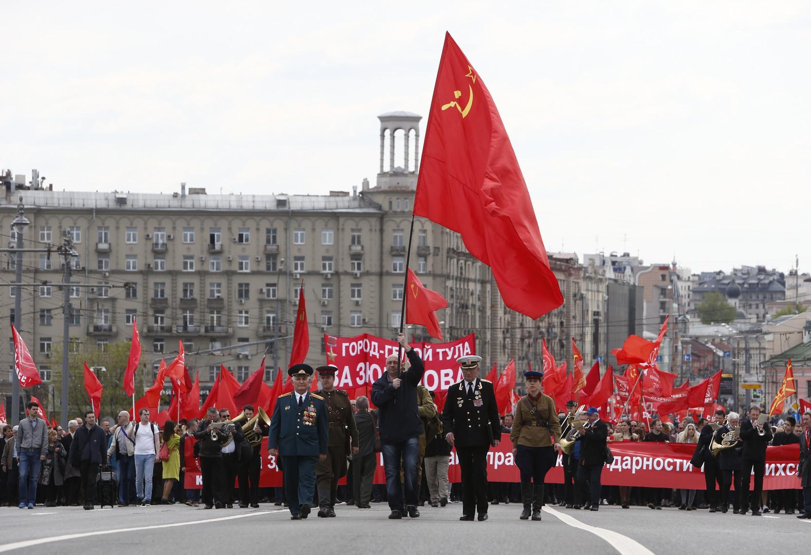Demonstration der Kommunistischen Partei Russlands in Moskau, Russand.