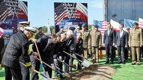 Spatenstichzeremonie für eine NATO-Raketenabwehranlage in Redzikowo nahe Słupsk, Polen