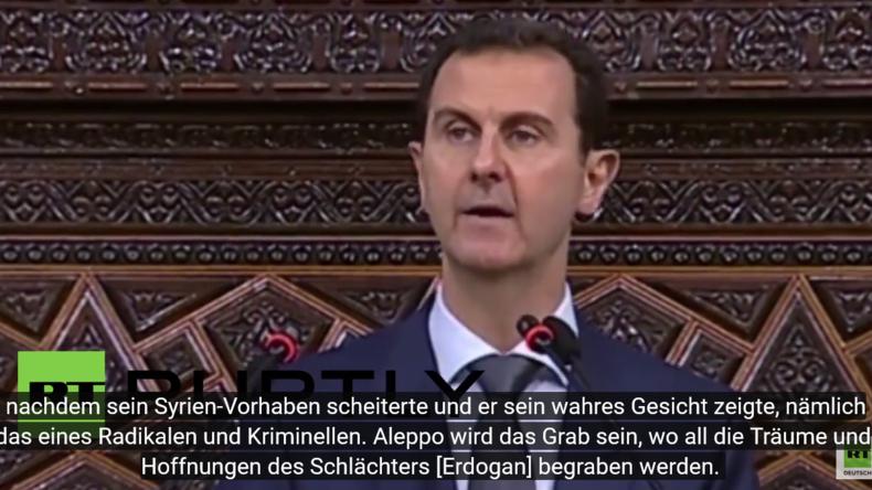 """Kampfansage: """"In Aleppo werden die Träume und Hoffnungen des Schlächters Erdogan begraben"""" - Assad"""