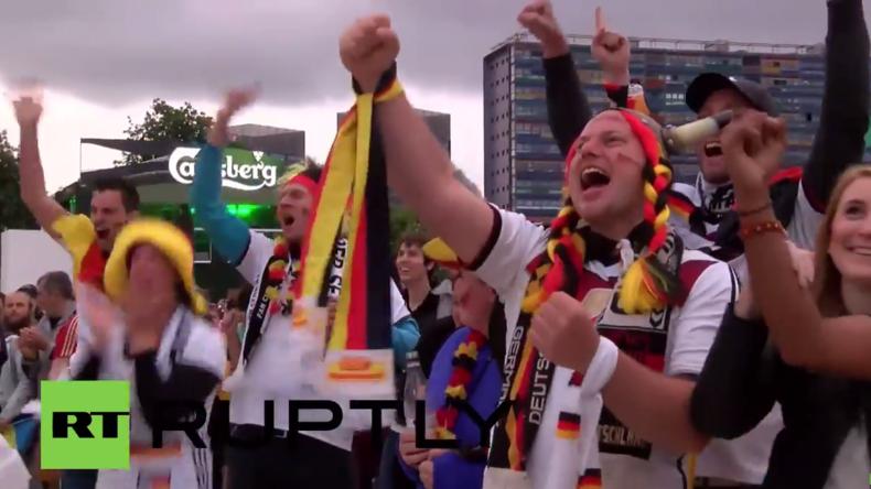 Europameisterschaft in Frankreich: Deutschland-Fans feiern 2 : 0 Sieg gegen die Ukraine