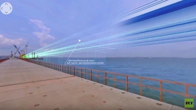 Bau der Krim-Brücke im RT 360 Grad-Panorama-Video