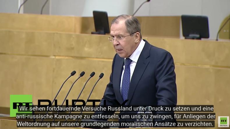 Lawrow: Russland soll für transatlantische Weltordnung auf seine moralischen Ansätze verzichten