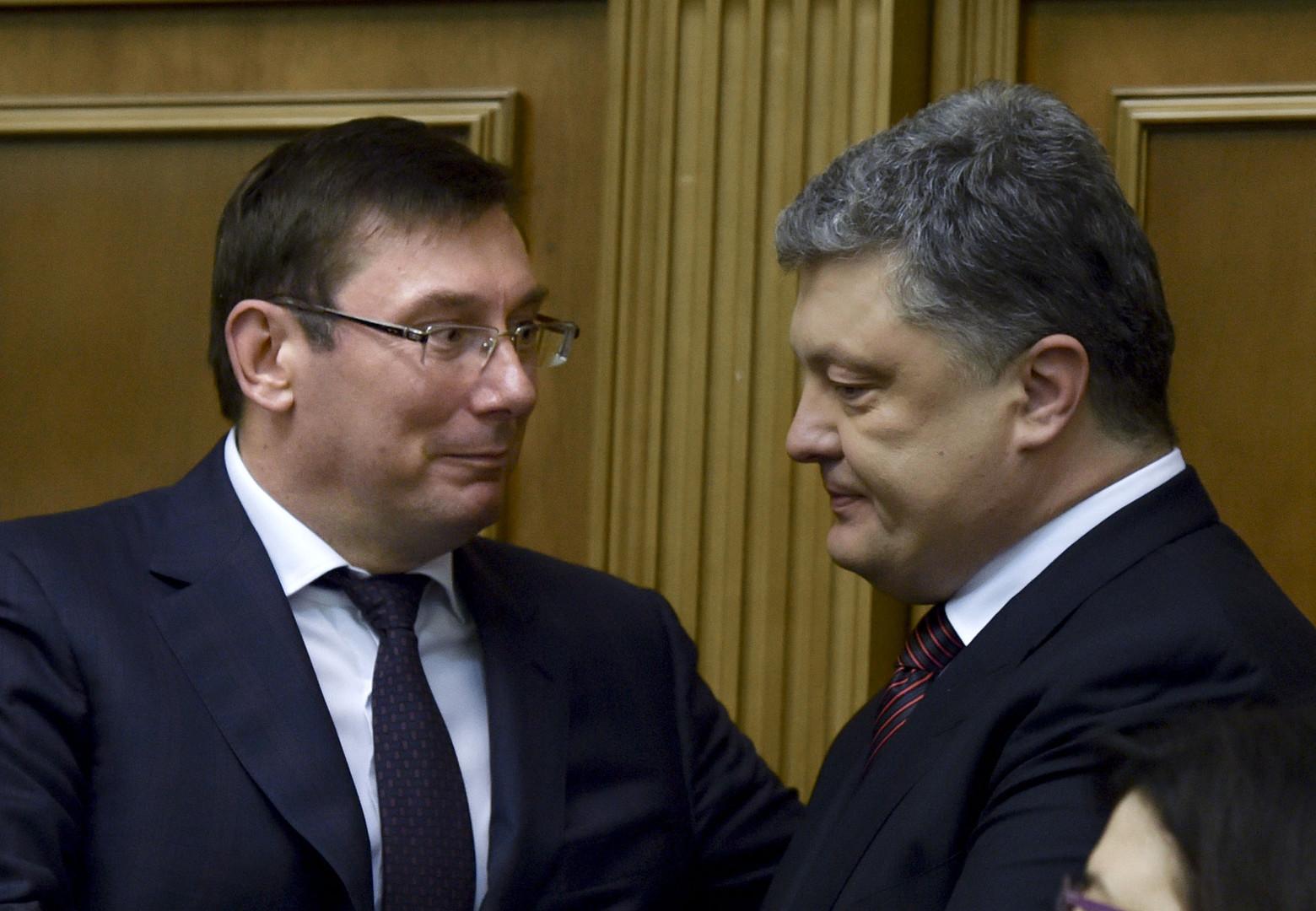 Ukrainischer Generalstaatsanwat Juri Luzenko und Petro Poroschenko