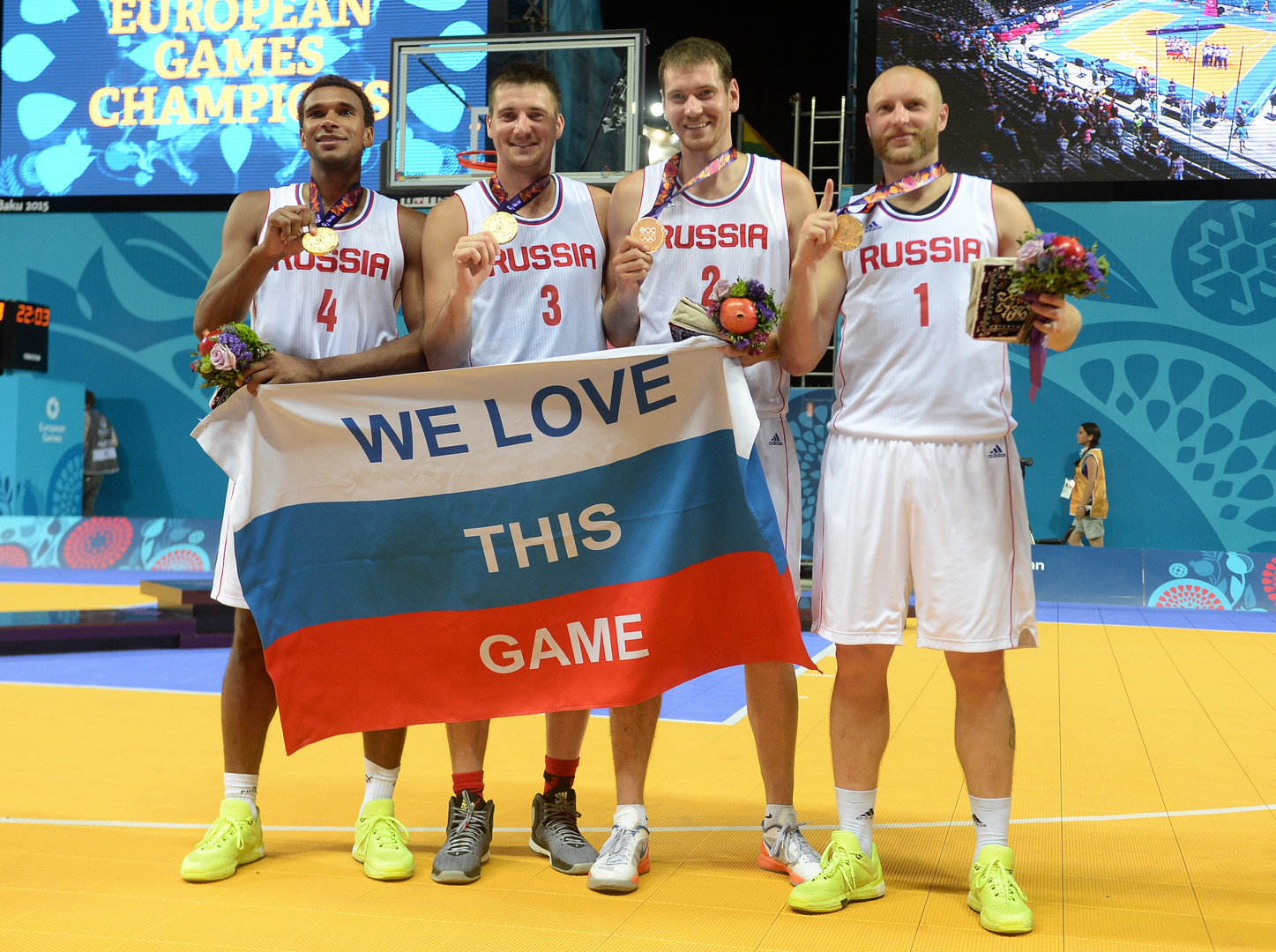 Russische Basketballspieler bei den Europaspielen 2015 in Baku
