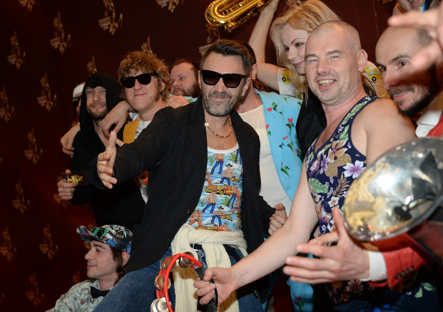 Leningrad frontman Sergei Shnurov, center, at the First Russian National Music Awards at Crocus City Hall in Moscow. 12/10/2015
