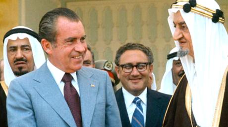 Richard Nixon und König Faisal im Rasa-Palast am 15. Juli 1974.