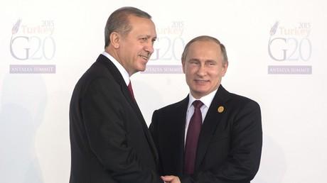 Recep Tayyip Erdoğan und Wladimir Putin auf dem G20-Gipfel in Antalya am 15. November 2015