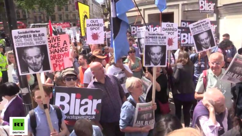 """Chilcot-Bericht: """"Blair hat gelogen und Millionen sind gestorben"""" - Anti-Kriegsprotest in London"""