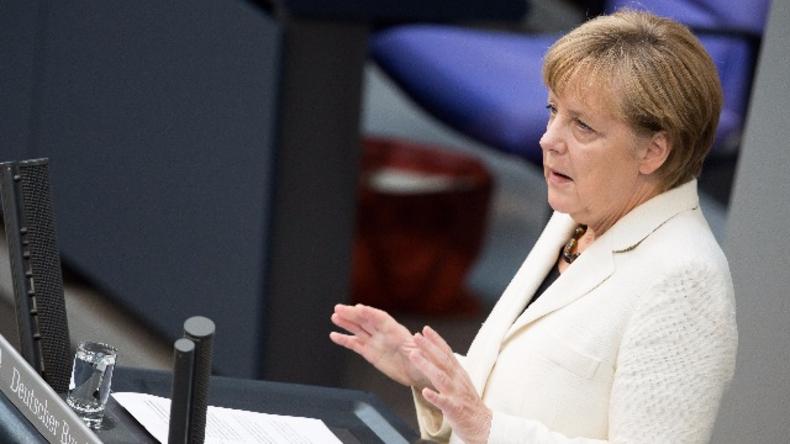 Angela Merkel im Deutschen Bundestag im Jahr 2014.