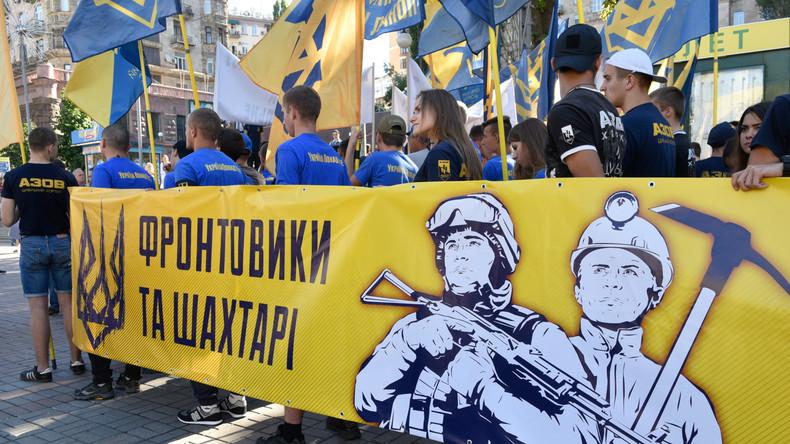 """""""Nein zu Tarif-Genozid!"""" - Bergarbeiterprotest  in Kiew gegen zu hohe Strom- und Gaspreise"""