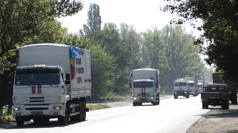 Russischer Hilfskonvoi in Donezk angekommen