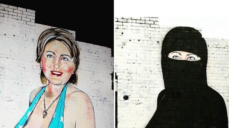 Clinton-Graffiti in Australien: Erst im Badeanzug und nach Protest im Niqab