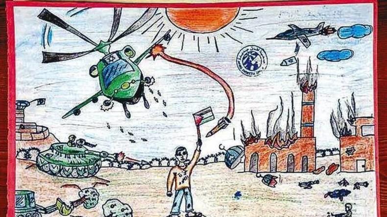 Zeichnung eines Kindes, in den palästinensischen Autonomiegebieten
