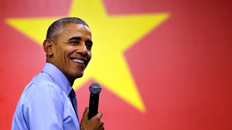 Barack Obama bei einem Treffen mit der Young Southeast Asian Leaders Initiative in Ho Chi Minh Stadt, Vietnam, Mai 2016. In den letzten Jahren gelang es dem Weißen Haus, zahlreiche Militärverträge im pazifischen Raum abzuschließen, die einen klaren Gegner erkennen lassen.