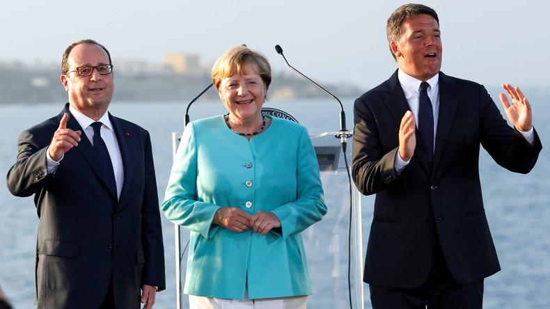 """Am Montag trafen sich Merkel, Hollande und Renzi zunächst auf der italienischen Insel Ventotene, dann auf dem italenischen Flugzeugträger """"Garibaldi""""."""
