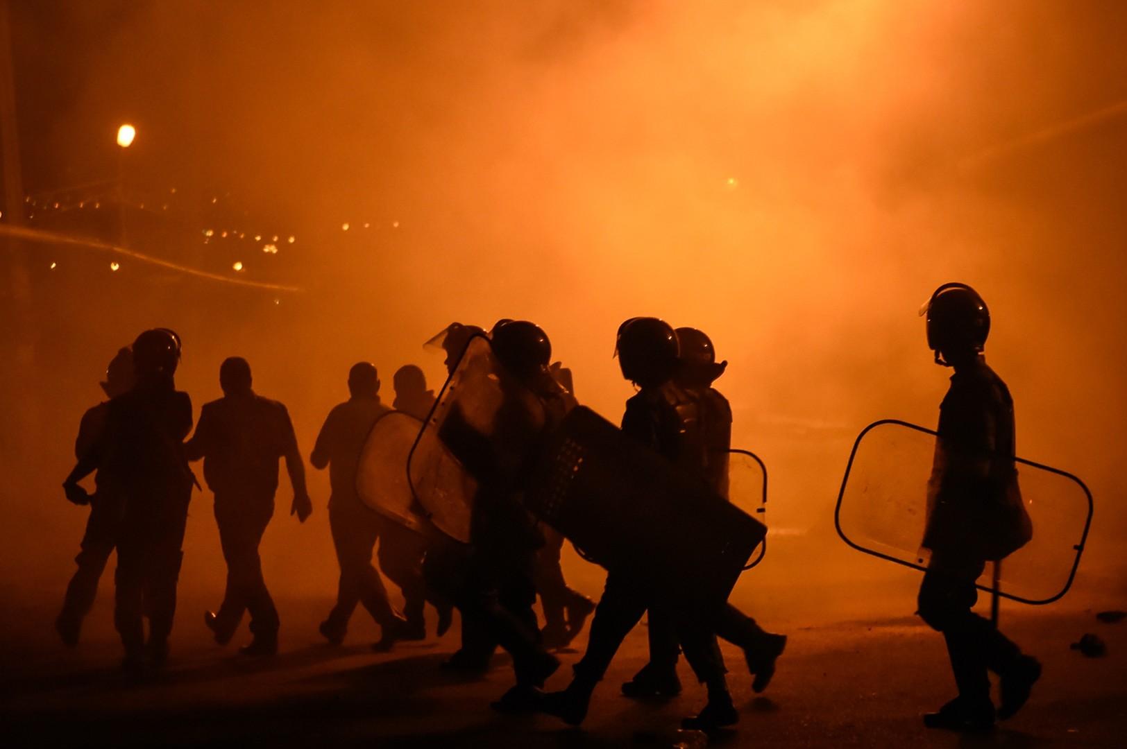 Polizeikräfte bei den Zusammenstößen am 29. Juli