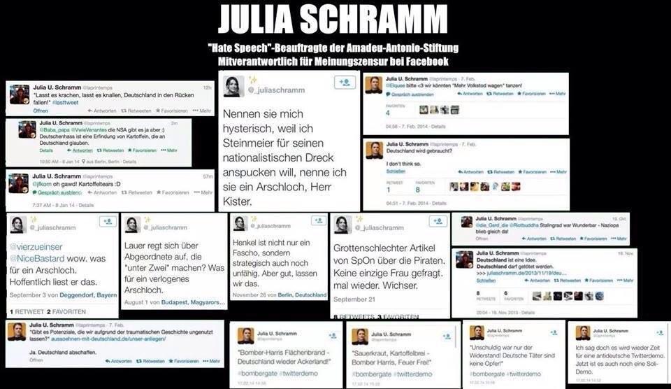 """Kennt sich offenbar gut mit der Materie aus - Julia Schramm wird von der Bundesregierung bezahlt, um etwas gegen """"Hasskommentare im Internet"""" zu tun. Quelle: Twitter https://twitter.com/_juliaschramm"""