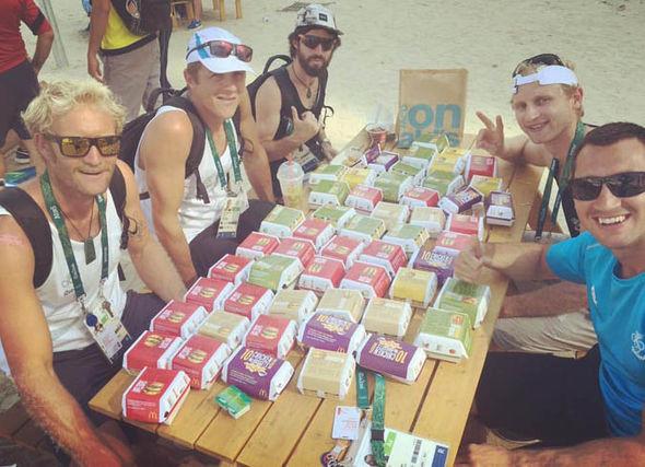 Australische Ruderer Eric Murray and Hamish Bond nach ihrer Goldmedaille