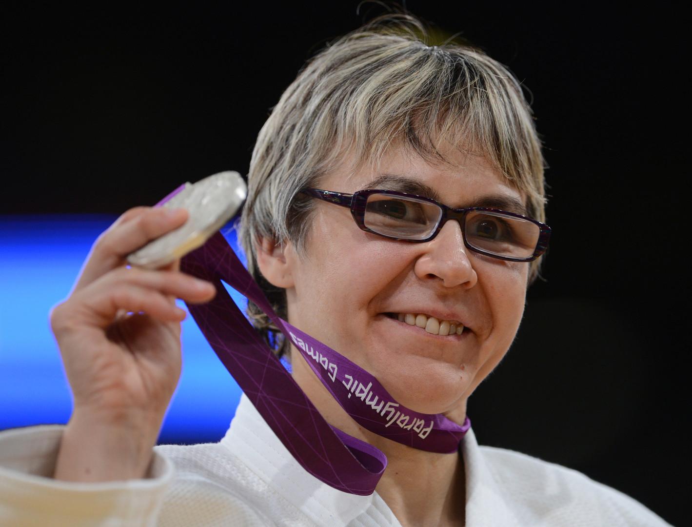 """Judoka Tatjana Sawostjanowa bei den ХIV. Paralympischen Sommerspielen in London """"Es tut weh, aber ich trainiere weiter"""", so Tatjana Sawostjanowa."""