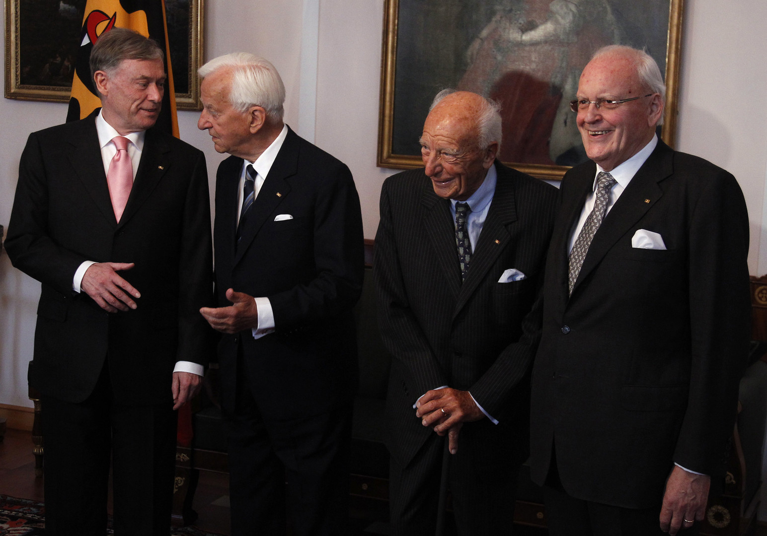 Scheel (zweiter von rechts) mit seinen Amtsnachfolgern.