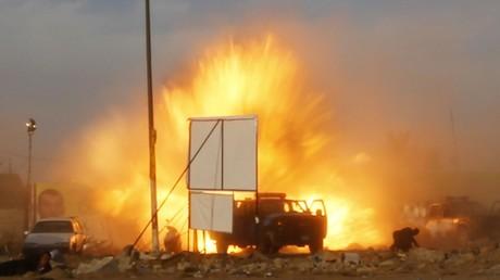 Explosion einer Sprengfalle in Baghdad, April 2014.