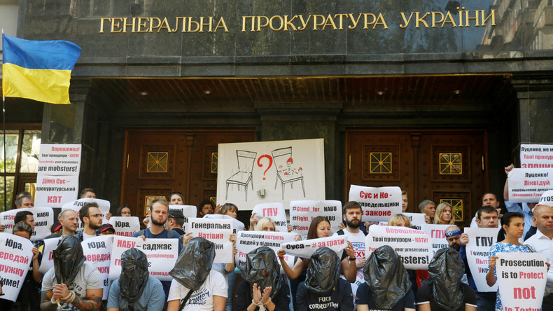 Aktivisten fordern die Entlassung eines Staatsanwalts, dem sie illegale Verhaftung und Folter vorwerfen. Büro des Generalstaatsanwaltes in der Ukraine, 17. August 2016.