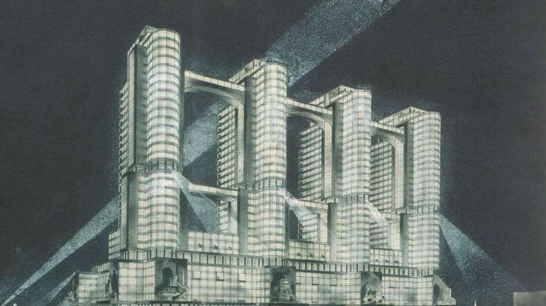 Kubismus, Konstruktivismus und sonstige Avantgarde, zusammengefügt in Glas, Stahl und Beton: Die Sowjetarchitektur der 1920er hat das Interesse eines Londoner Independent-Verlages erweckt. (Bild: A.A. und W.A. Vesnin 1934, Bauprojekt für das Volkskommissariat der Schwerindustrie)