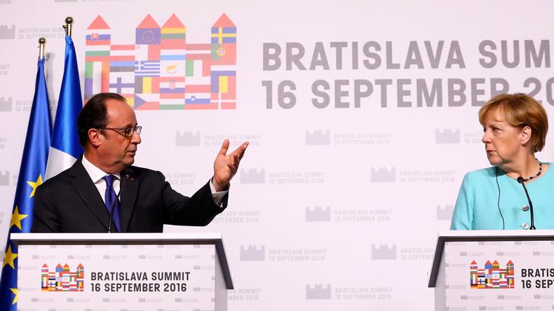 François Hollande und Angela Merkel in Bratislava: Mein Feind, der Populismus