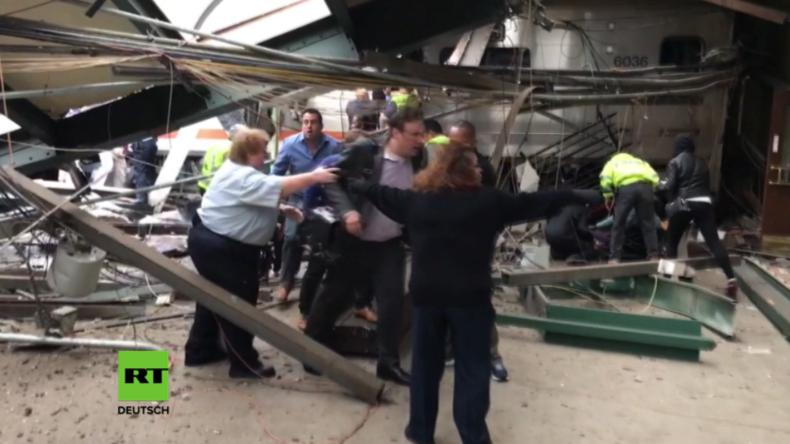 USA: Exklusiv-Aufnahmen zeigen Moment nach tödlichem Zugunglück in New Jersey