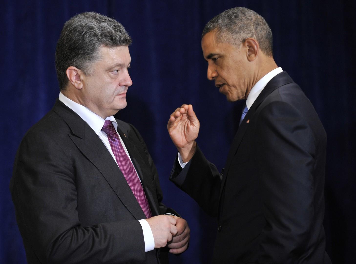 Präsident Poroschenko mit Präsident Obama in Warschaw am 04.06.2014.