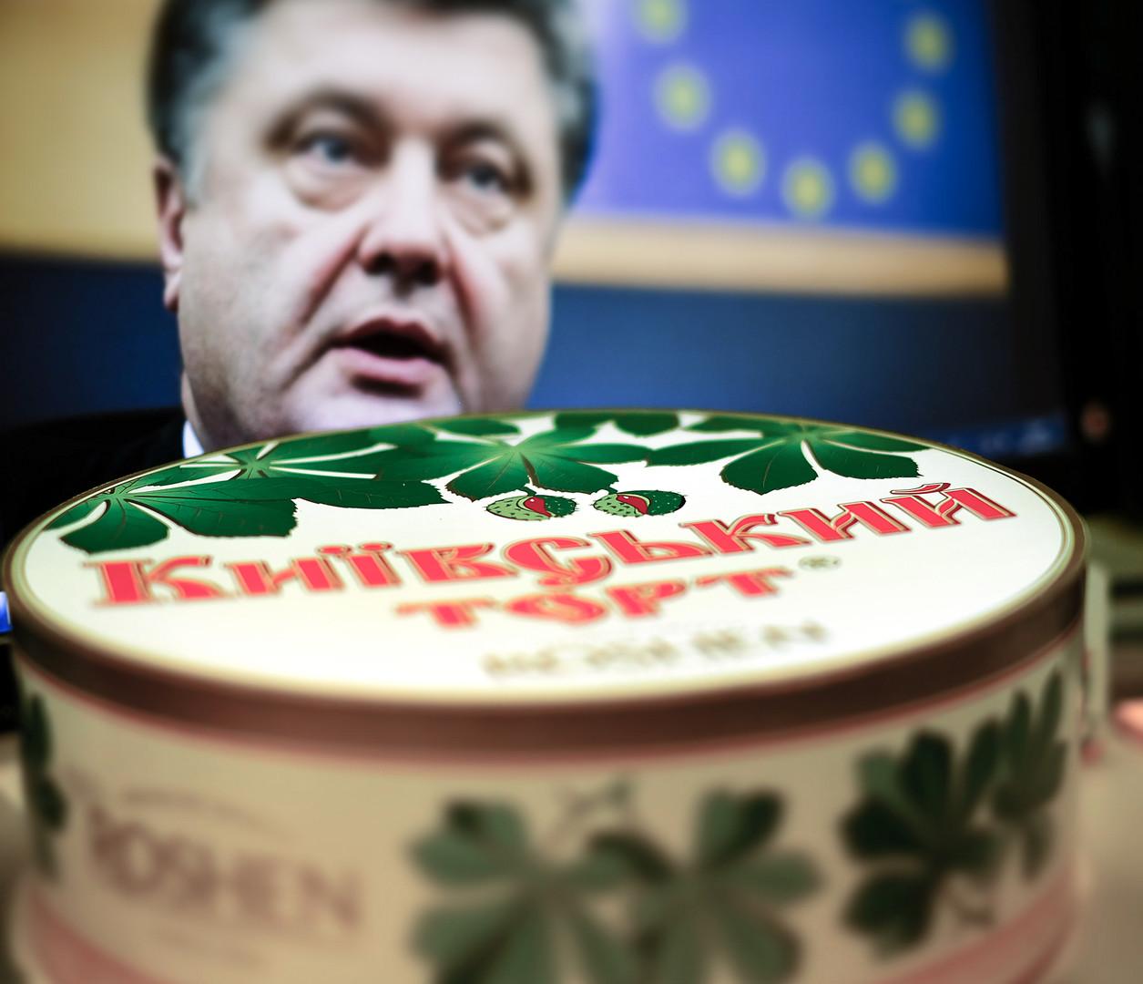 """Kiewer Torte, das Produkt des Süßwarenherstellers """"Roschen"""", der Poroschenko gehört."""