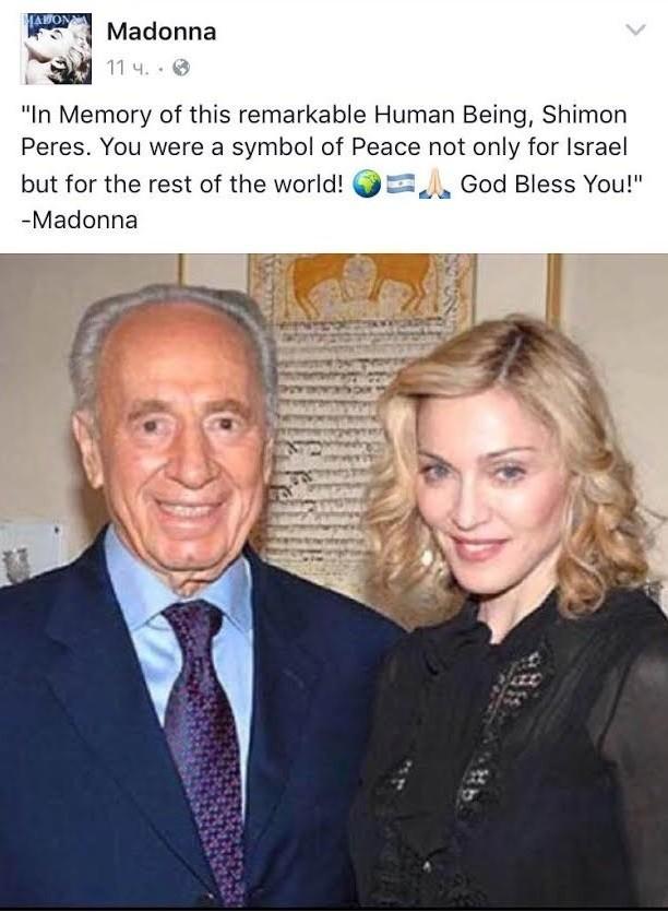 Madonna trauert um Schimon Peres - mit argentinischer Fahne