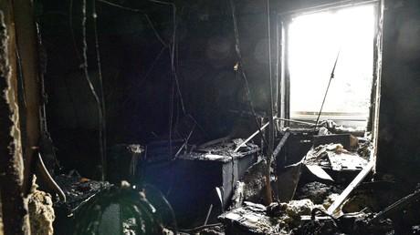 Die abgebrannten Redaktionsräume des TV-Senders Inter.