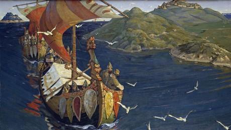 Der Maler Nicholas Roerich hielt die Hanse in Russland in einem Gemälde fest.