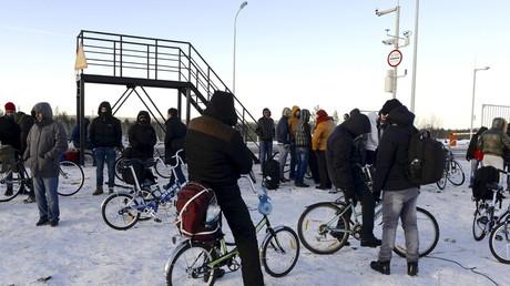 Flüchtlinge an der russisch-norwegischen Grenze, Murmansk-Region.