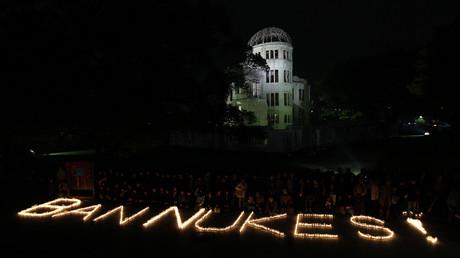Aktivisten in Hiroshima fordern die weltweite Ächtung von Atomwaffen.