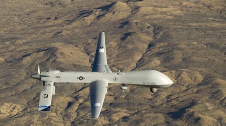 US-Drohne vom Typ Predator - Russland meldet Sichtung über beschossenem Hilfskonvoi.