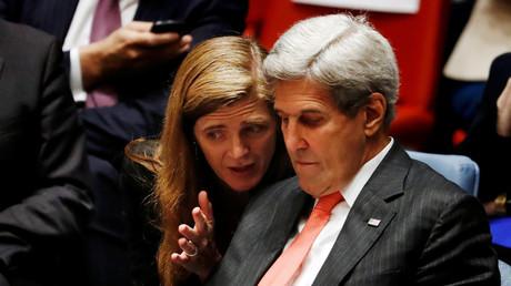 Samantha Power und Außenminister Kerry gestern im Sicherheitsrat der UNO.