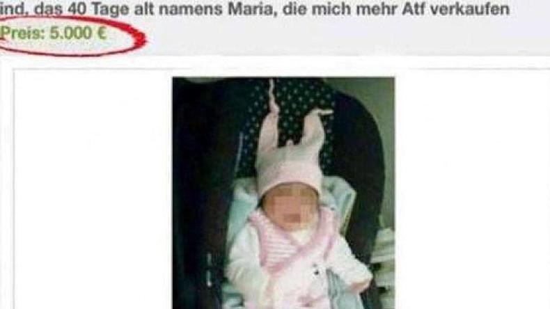 Infolge eines Ebay-Inserats, in dem ein Baby für 5.000 Euro zum Kauf angeboten wurde, stürmte die Polizei die Wohnung einer Flüchtlingsfamilie in Duisburg.