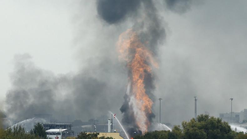 Luftaufnahmen zeigen Brand im BASF-Werk in Ludwigshafen