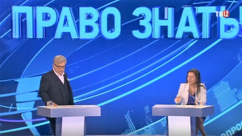 """Fernsehtalk """"Recht zu wissen"""" beim Russischen Sender TV Zentr mit Dmitri Kulikow als Moderator, Margarita Simonjan und vier weitere Journalisten, die am 15. Oktober in der Sendung zu Gast waren."""