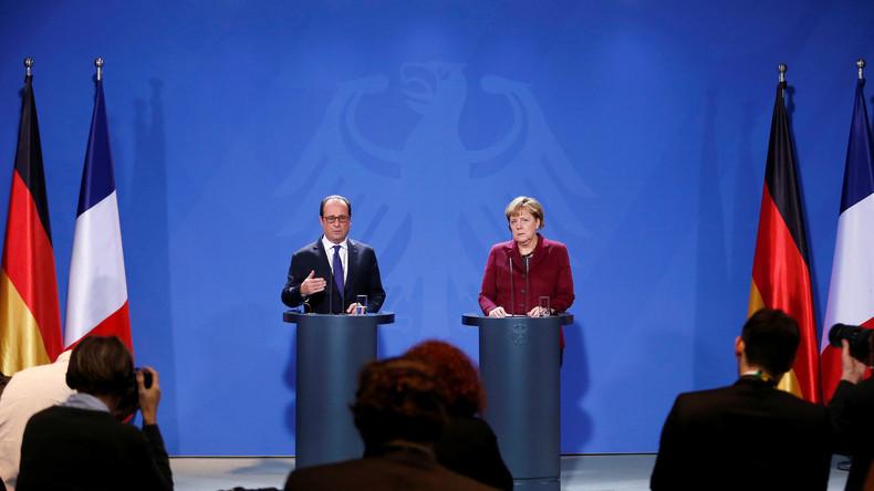 Pressekonferenz Merkel und Hollande nach Normandie-Vier-Gesprächen in Berlin