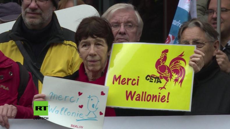 """Berlin: """"Merci Wallonie!"""" - Demonstration zum CETA-Stopp und zur Unterstützung der Wallonen"""