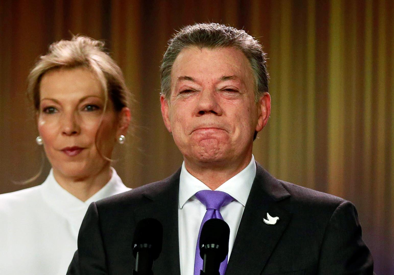 Der kolumbianische Präsident Juan Manuel Santos nach Bekanntgabe des Friendesnobelpreises.