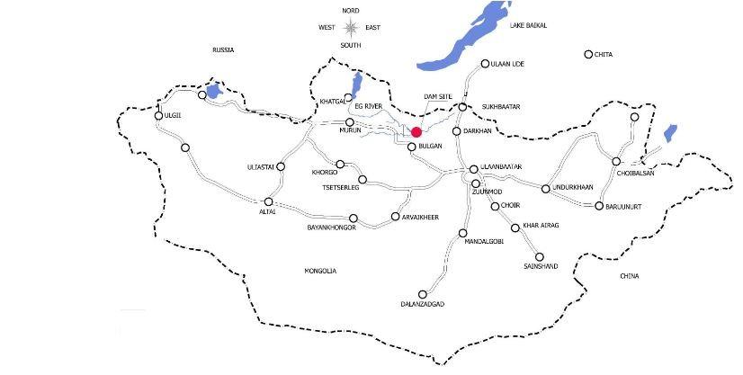 Ort der geplanten Staumauer in der Mongolei.